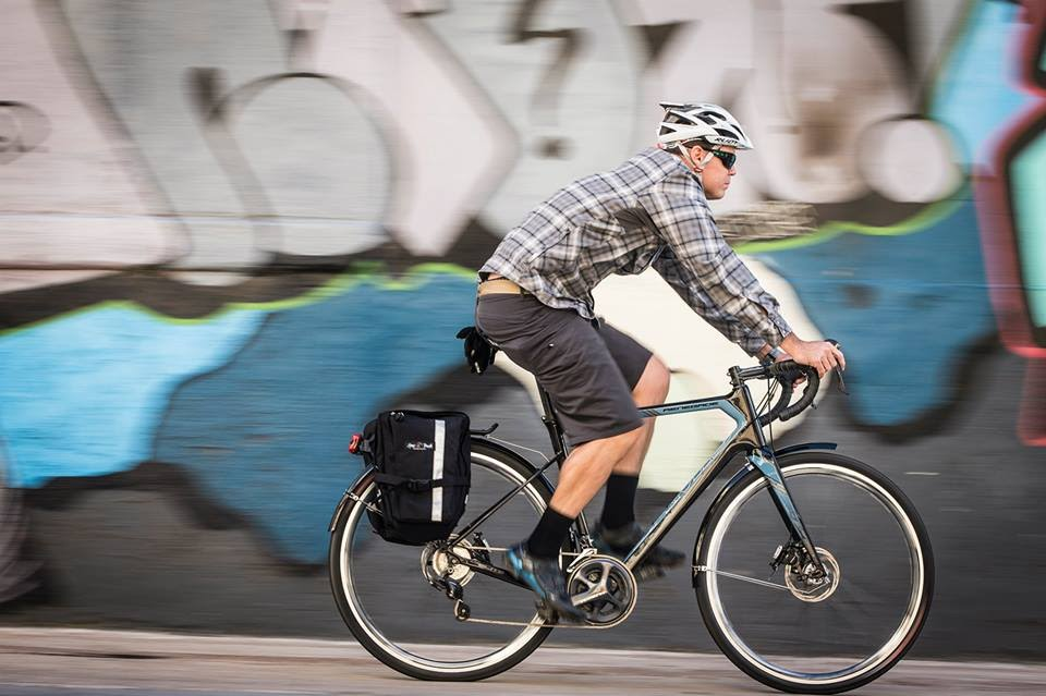 The Jamis Renegade adventure bike can be equipped with panniers for commuting or touring.
