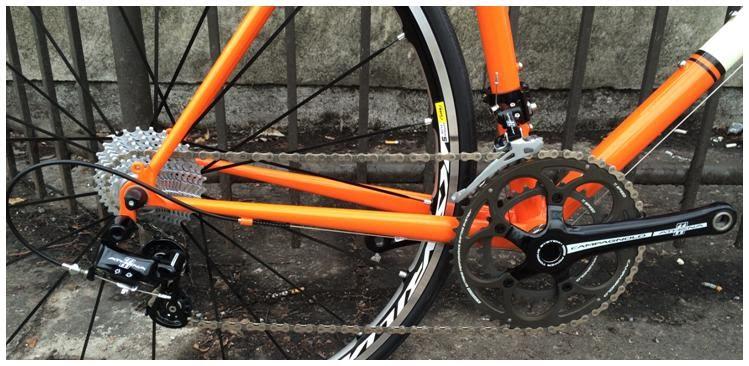 campagnolo drivetrain on custom steel bicycle